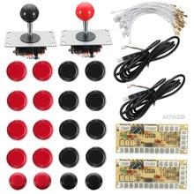 1 Juego para 2 jugadores, Joystick de cero retardo, Arcade DIY, 2 LED, codificador USB + 2 Joystick + 20 botones iluminados + 28 Cables, juego Arcade