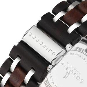 Image 4 - Часы Мужские Gepersonaliseerde Bobo Vogel Hout Horloge Mannen Chronograph Militaire Horloges Luxe Stijlvolle Met Houten Doos Reloj Hombre
