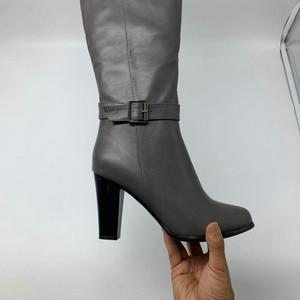 Image 4 - 2020 אופנה גבוהה עקבים נשים הברך גבוהה מגפי עור מפוצל משרד גבירותיי שמלת נעלי אביב סתיו מגפי אישה גדול גודל 34 43
