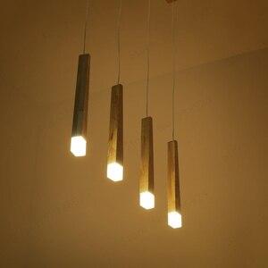 Image 3 - Lukloy 나무 펜던트 라이트 펜던트 램프 주방 매달려 램프 나무 교수형 조명 거실 현대 로비 조명 로프트 숍 램프