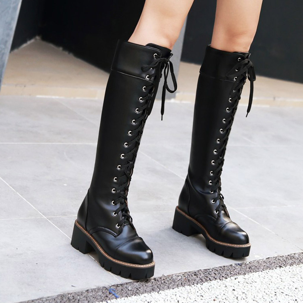 Hot Sale Spring Autumn Waterproof Knee High Boots Women Casual Bandage Square Heel Woman Leather Shoes Winter Large Size 35-43 image