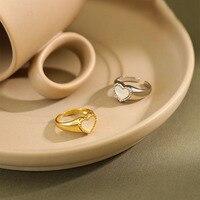 Anillo de conchas de corazón de amor para mujer, de Plata de Ley 925, sortija de boda para fiesta, joyería para dedo, regalo para S-R952