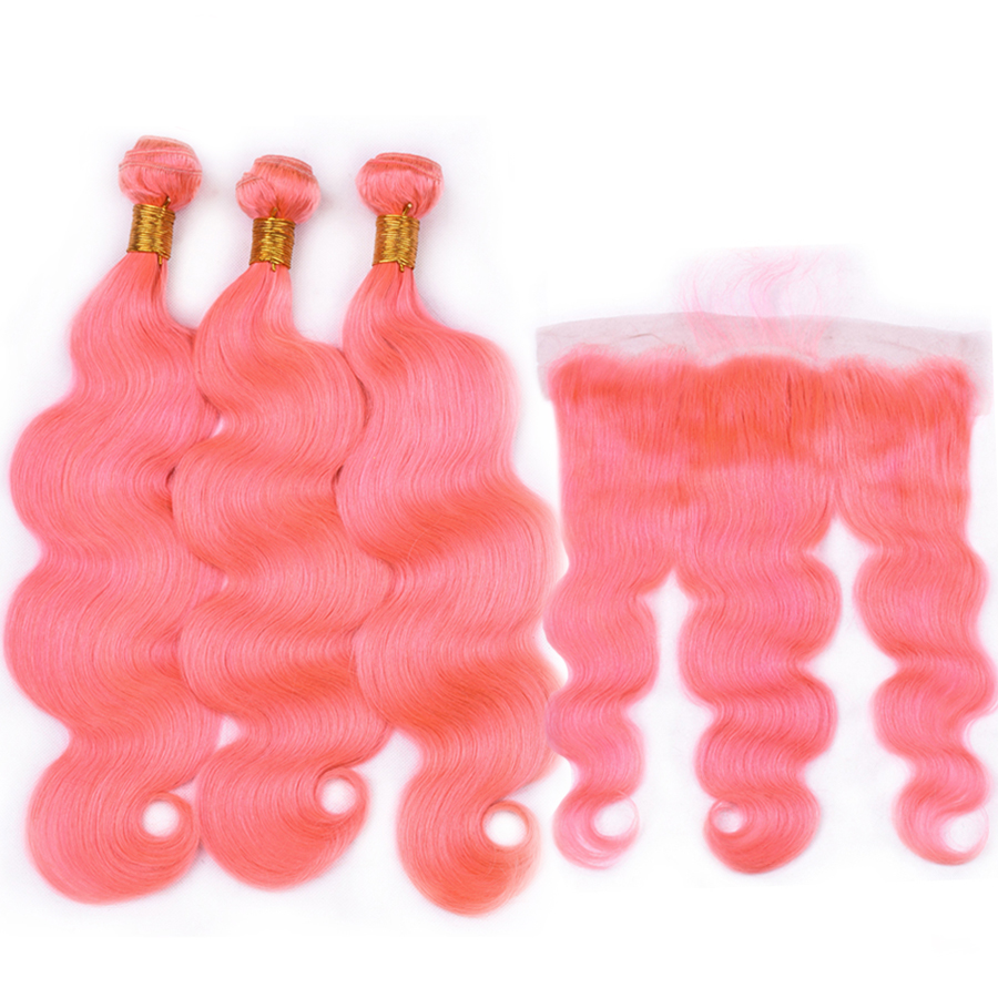 Pink Color Body Wave Remy Hair Bundles With Frontal Brazilian Remy Hair Bundles With Closure Dorisy Remy Hair Extensions