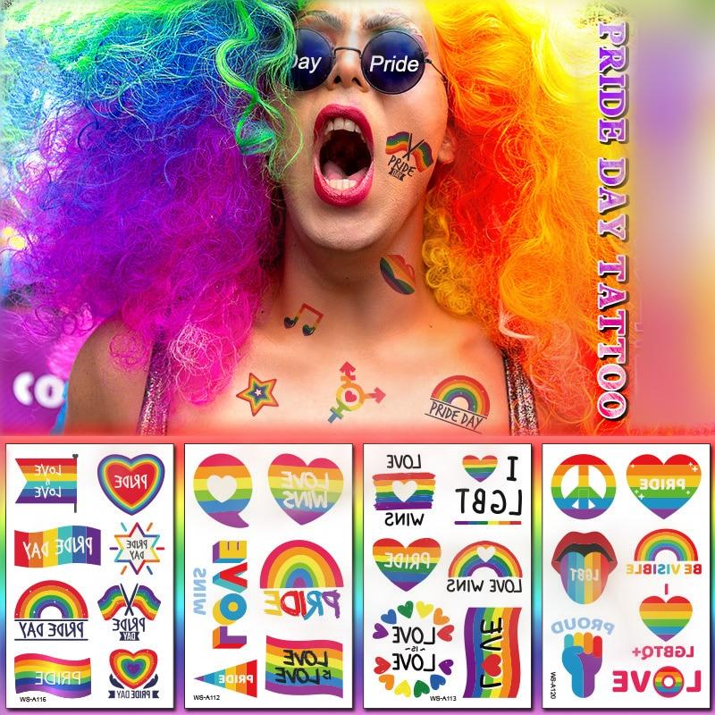 1 Sheet LGBT Pride Day Temporary Tattoo Sticker Rainbow Pattern Love Is Love Flash Waterproof Fashion Body Art Men Women Child