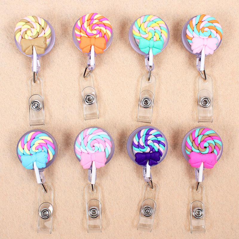 Cute Colors Lollipop Retractable Creative Plastic Badge Holder Reel Student Nurse Exhibition Enfermera Girl Name Card Chest Card