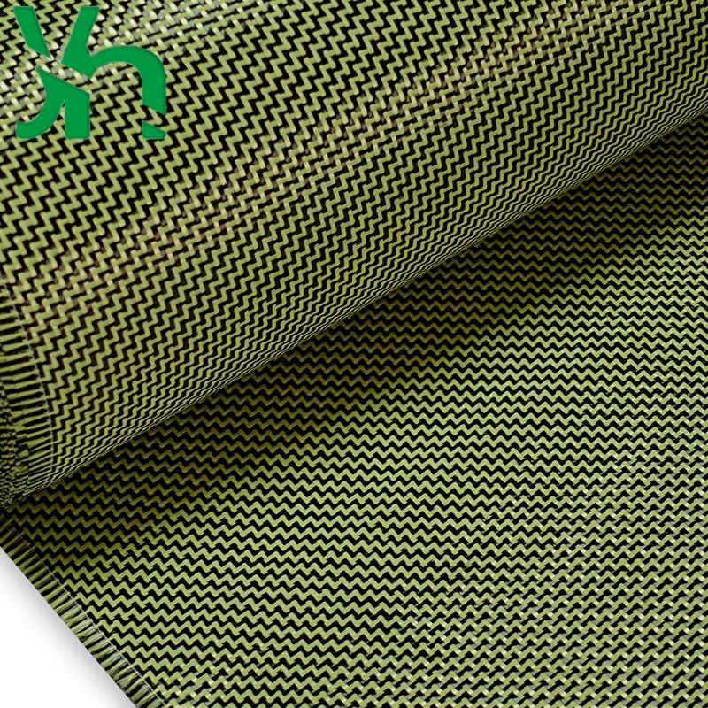 3K280gW pattern carbon fiber blended fabric, black 3K carbon fiber+yellow Kevlar, used for surface decoration to increase streng