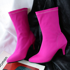 Image 2 - Soft Slim Stretch Socks Boots Women Fashion Rose Blue Heeled Womens Ankle Boots Autumn Spring Pointed Toe Womens Shoes Big Size