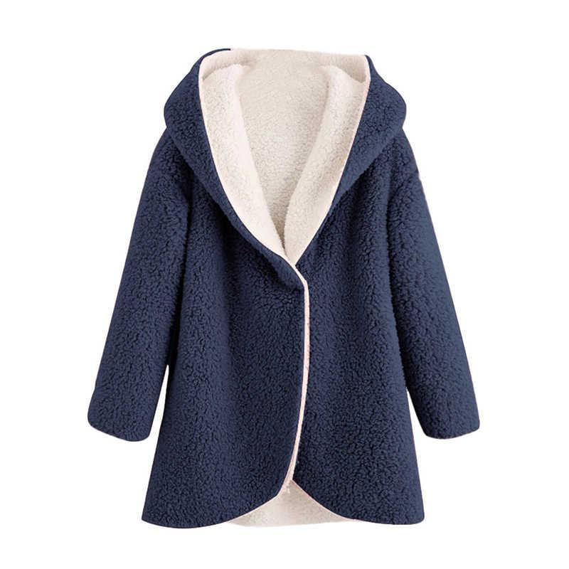 2019 nuevo abrigo de piel sintética de moda para mujeres de manga larga con capucha Casual prendas de vestir chaquetas de piel sobredimensionado abrigo de lana ropa de calle