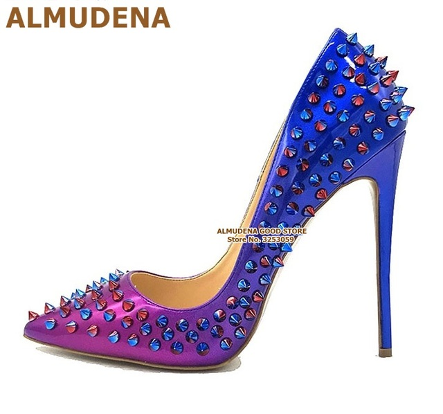 ALMUDENA 8 10 12cm Stiletto Heels Rivets Pointed Toe Shoes Red Pink Black Studded Wedding Shoes Full Spikes Dress Pumps Size45 2