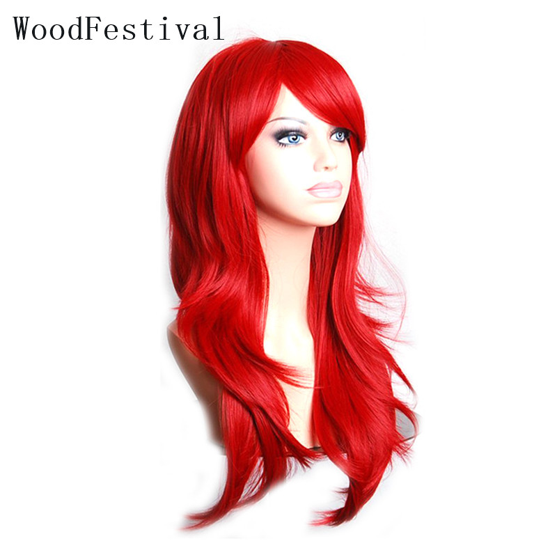 WoodFestival Heat Resistant Wigs Synthetic Hair Women Long Cosplay Wig With Bangs Wavy Pink Red Brown Purple Black Blue Blonde