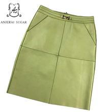 Spring autumn women Genuine leather skirt black green yellow sexy Metal lock cat