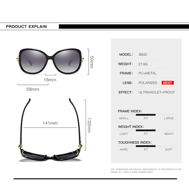 2020 Classic Womens Oversized Sunglasses Brand Designer Polarized Sunglasses Ladies Rhinestone Temple Shades Eyewear 5