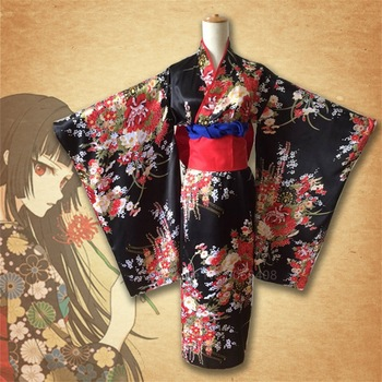Vestido Kimono tradicional japonés para chica del diablo, Cosplay, Obi Haori, Vintage, Floral, para escenario, Halloween