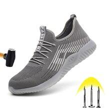新しい通気性安全靴 2020 メンズ夏鋼つま先スマッシュにくい軽量作業靴刺し耐建設ブーツ
