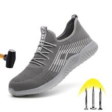 Nowe oddychające obuwie ochronne 2020 męskie letnie stalowe palce odporne na uderzenia lekkie buty robocze odporne na uderzenia buty budowlane