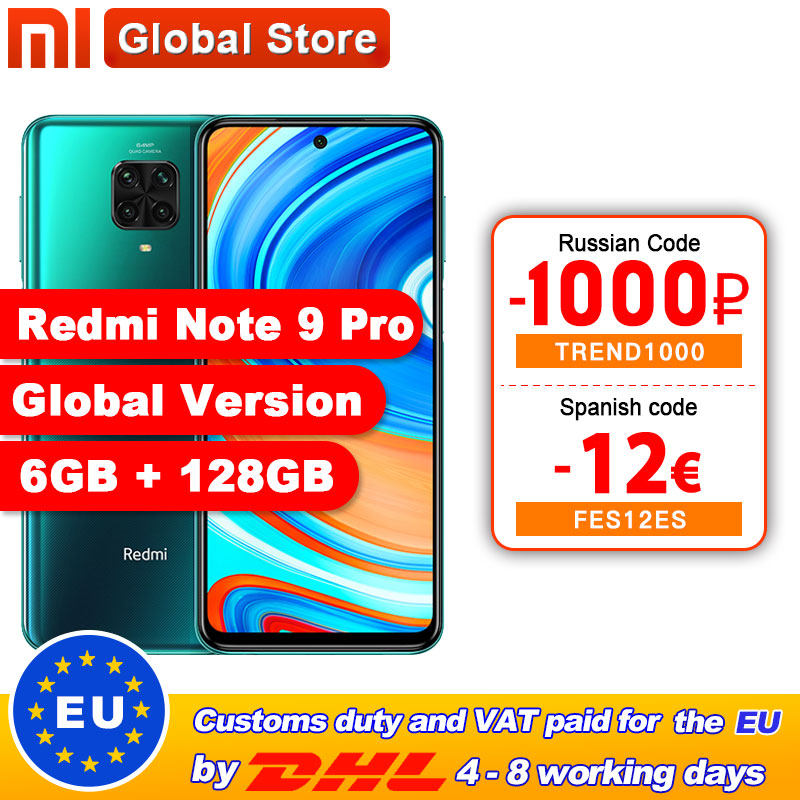 In Stock Global Version Redmi Note 9 Pro 6GB 128GB NFC Smartphone Snapdragon 720G Octa Core 64MP Quad Camera 6.67