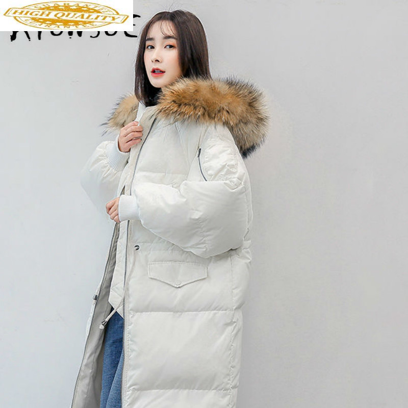 Winter Coat Women 2019 New 90% White Goose Down Jacket Women Warm Parka Raccoon Fur Collar Puffer Jacket Women YS6102000 YY1621