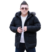 9XL 10XL Plus Size Mens Down Jacket Black Fur Collar Thicken Warm Hooded Jacket Winter Casual Big Size Jacket Coat Male R2210(China)