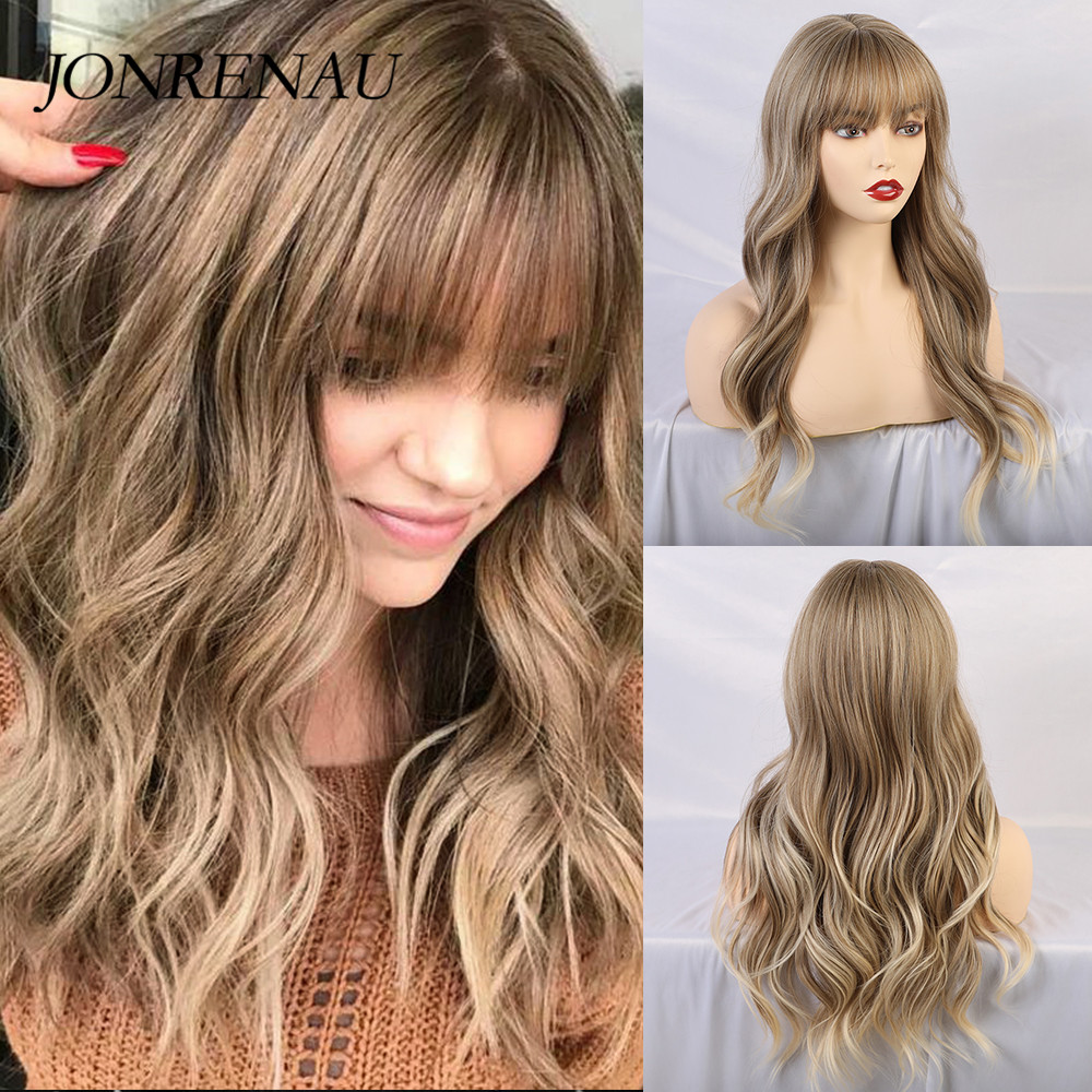 JONRENAU Synthetic Wigs With Bangs Light Brown Mixed Blonde Long Natural Wave Hair Party Wigs For White/Black Women