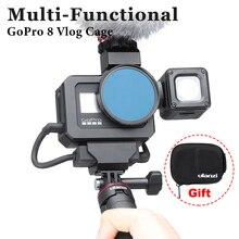 Ulanzi G8 5 Kim Loại Vlog Lồng Cho GoPro Hero 8 Đen Đôi Giày Lạnh Khung Máy Ảnh Cho Micro Có Đèn LED Sáng 52 Mm Adapter