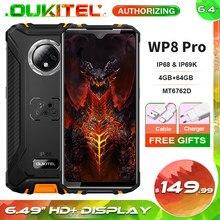Oukitel wp8 pro 6.49 hd hd hd + display mt6762d octa núcleo android 10.0 celular nfc 4gb 64gb ip68 impermeável áspero smartphone