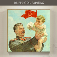 Hand painted High Quality Impressionist Stalin and Kid Oil Painting on Canvas Soviet Union Stalin and Future Kid Oil Painting