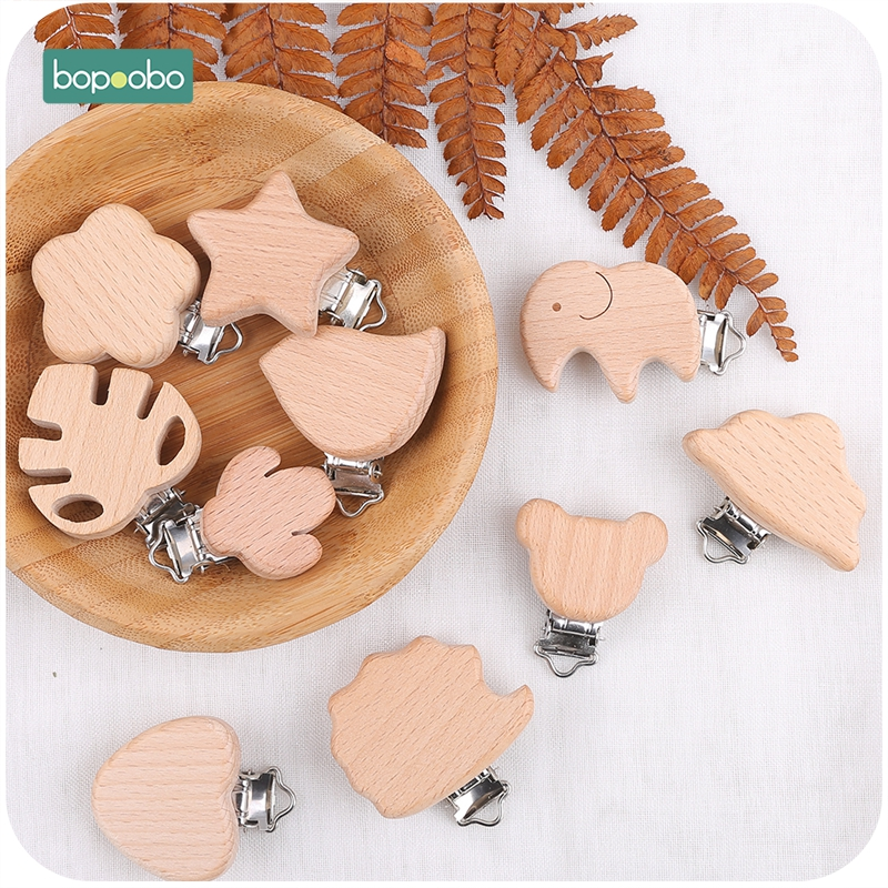 Bopoobo 10pcs Pacifier Clip Making Wooden Soother Clip Nursing Accessories Silicone Diy Dummy Clip Chains Wooden Baby Teether