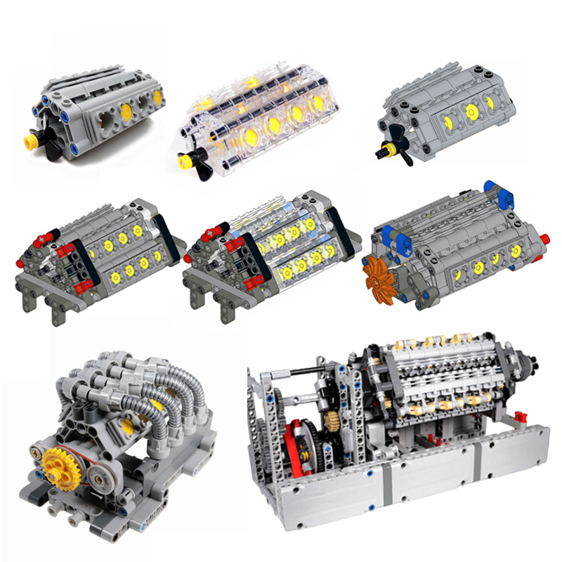 MOC Technic V8 Eight-cylinder Engine Unit V3 V6 V8 V12 W12 V16 W16 Engine Building Block Bricks Kits Parts Children DIY Toys