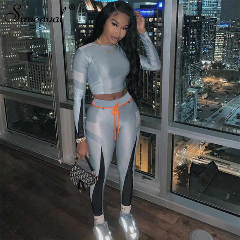 Simenual Sporty Workout Active Wear 2 Piece Sets Women Casual Fashion Fitness Patchwork Tracksuits Long Sleeve Top And Pants Set