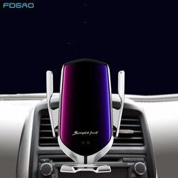 Qi 10W bezprzewodowa ładowarka samochodowa czujnik na podczerwień szybkie ładowanie dla iPhone XS Max XR X 8 Samsung S9 S10 samochód odpowietrznik podstawka ładująca w Ładowarki bezprzewodowe od Telefony komórkowe i telekomunikacja na