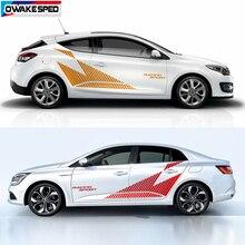 מירוץ ספורט רכב צד פסים אוטומטי דלת גוף דקור ויניל מדבקות עבור רנו מגאן RS גביע 3 5 דלתות עיצוב מדבקת אבזרים
