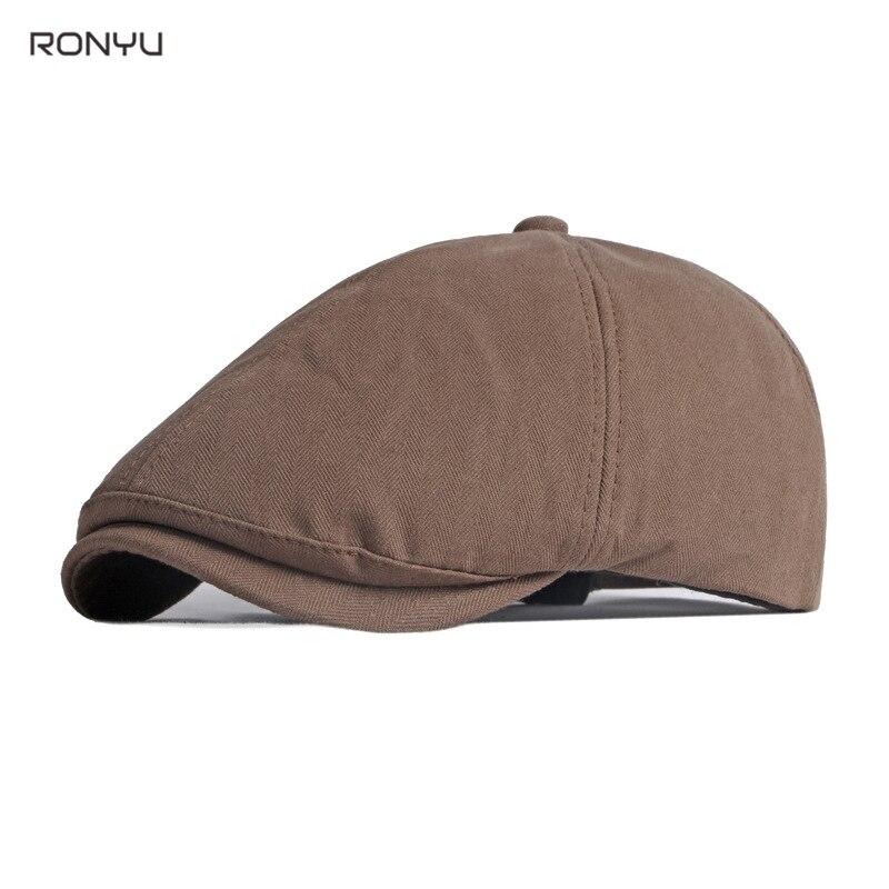 Black Cotton Men Women Beret Cap Retro Vintage Soft Boina Casual Baker Boy Newsboy Caps Solid Color Driver Cap Cabbie Hat  NM29
