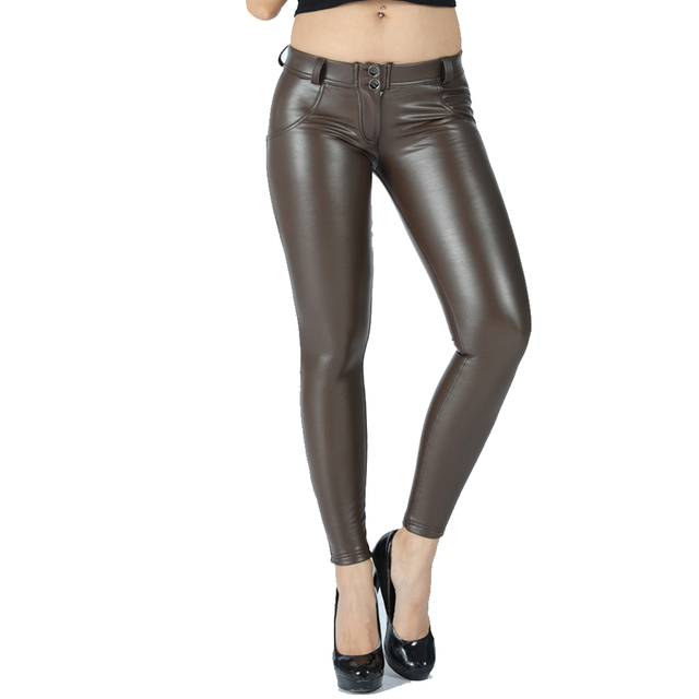 Melody eco leather legging seamless pants full length faux leather maroon leggings women joggers mid rise button fly 2