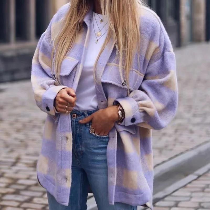 2020 Women Spring Fashion Warm Cotton Long Za Jacket Female Casual Purple Plaid Long Outwear Chic Lady Single Breasted Shirts