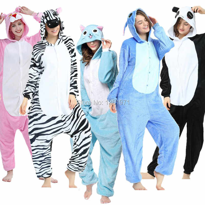 Hksng Winter Volwassen Vrouwen Animal Kigurumi Happy Cat Rompers Pikachu Panda Tiger Stitch Konijn Pyjama Halloween Cosplay Kostuum