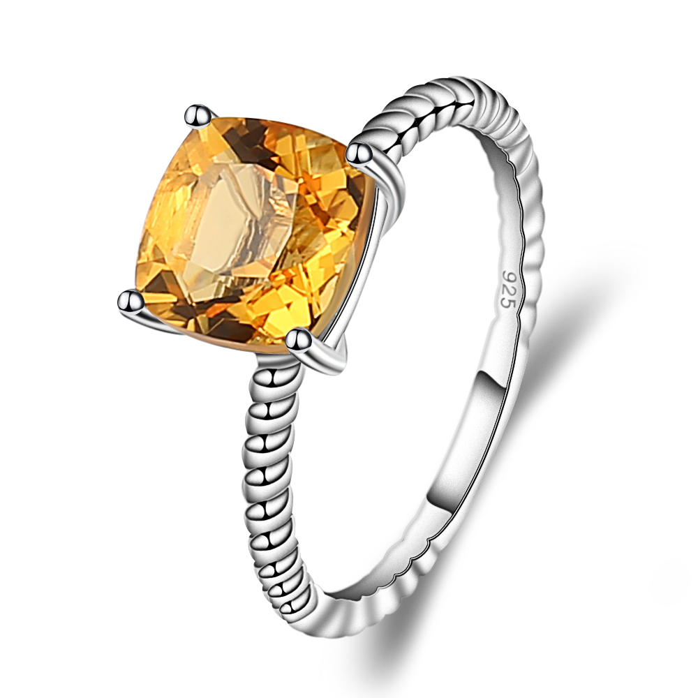 Gem's Ballet 2.60Ct Cushion Cut Natural Citrine Gemstone Rope Band Stackable Ring For Women 925 Sterling Silver Fine Jewelry