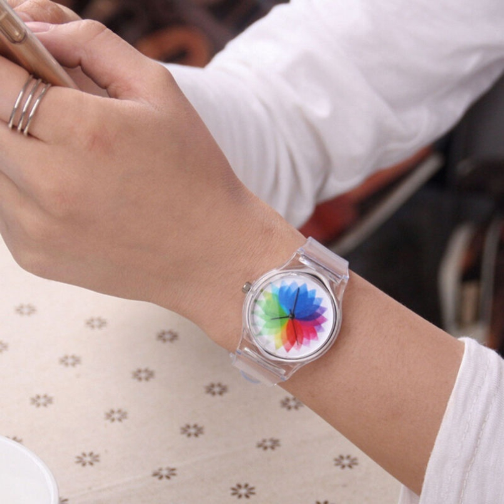 IsMyStore: Cute Clock Transparent Silicone Kids Women Colorful Dial Jelly Quartz Analog Wrist Watch Ladies Dress Watches Gift Luxur
