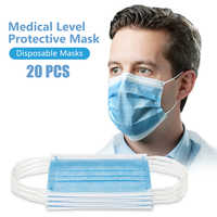 Face Mask 20 Pcs / Pack 3-Ply PM2.5 Nonwoven Disposable Elastic Mouth Anti-virus Soft Breathable Flu Hygiene Face Mask