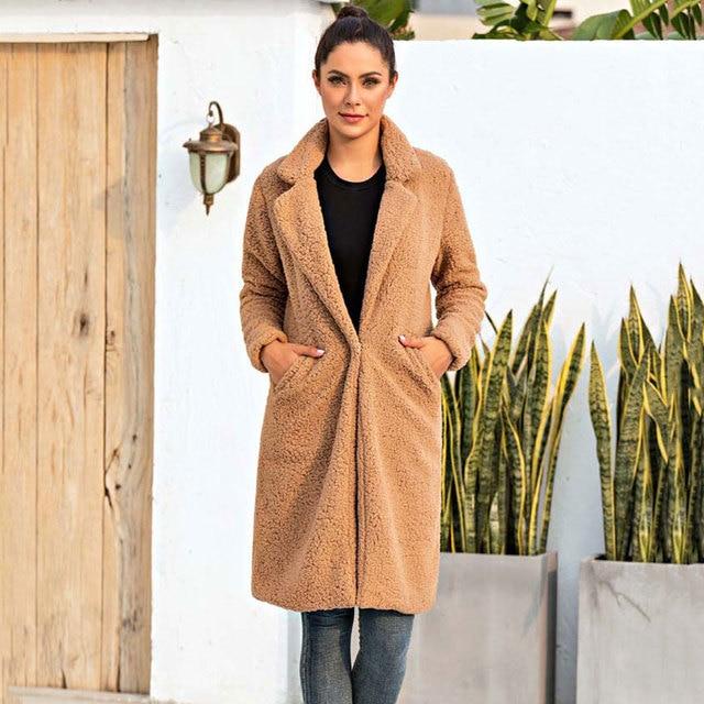2020 automne Long hiver manteau femme fausse fourrure manteau femmes chaud dames fourrure Teddy veste femme en peluche Teddy manteau grande taille Outwear 4