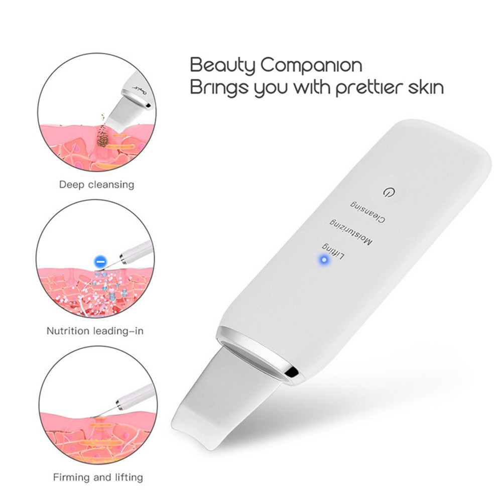 Ultrasonic Face Scrubber Facial Cleaner Rechargeable Skin Lifting Face Blackhead Remover Exfoliating Pore Cleaner Skin Scrubber