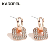 2019 CZ Jewelry Classic Princess Square Earring Luxury Cubic Zirconia Crystal Stone Wedding Bridal Earrings For Women popular 925 sterling silver 5 colors square cubic zirconia stone austria crystal classic clip earring women jewelry brinco