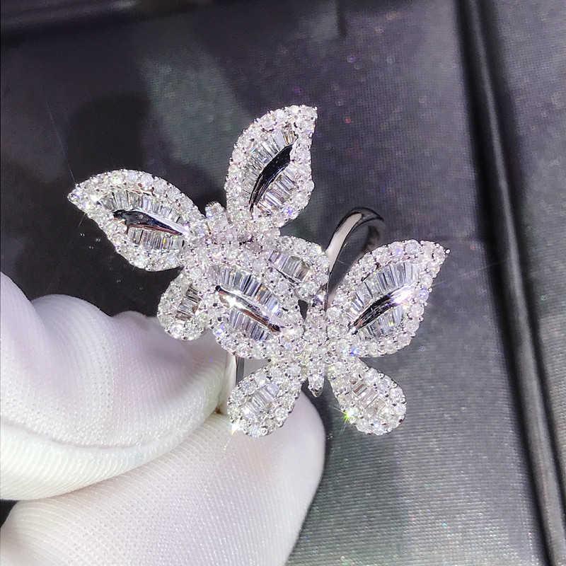 เงิน 925 แหวนเพชรแท้ AAA 2 กะรัตแหวนแต่งงานผู้หญิงสวยสองผีเสื้อสีขาว Topaz อัญมณีเครื่องประดับแหวน