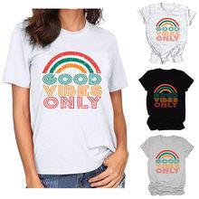 Camiseta casual de alta qualidade do arco-íris das mulheres das mulheres das mulheres