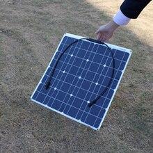 Painel solar de fibra de vidro semi flexível, 50w 12v 100w preto painel solar para 12v bateria de carga barcos, caravans, motorhomes,
