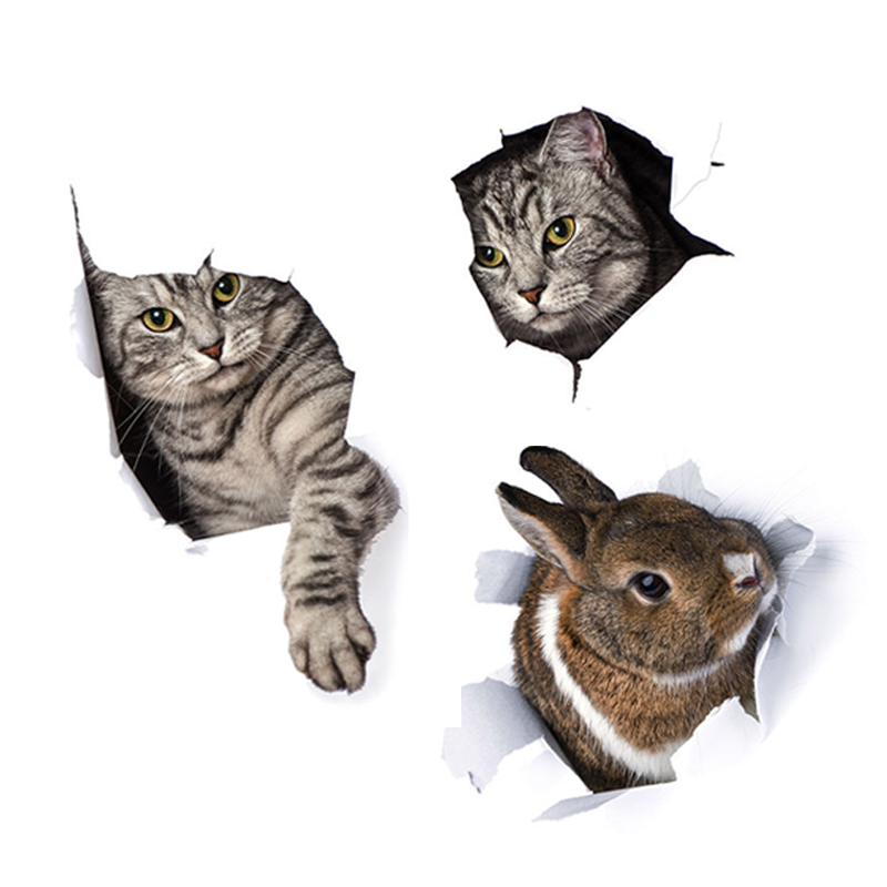 Cute 3D Bunny Kitten Wall Sticker For Bathroom Toilet Cupboard Home Decoration Decals Background Wallpaper Animals Stickers