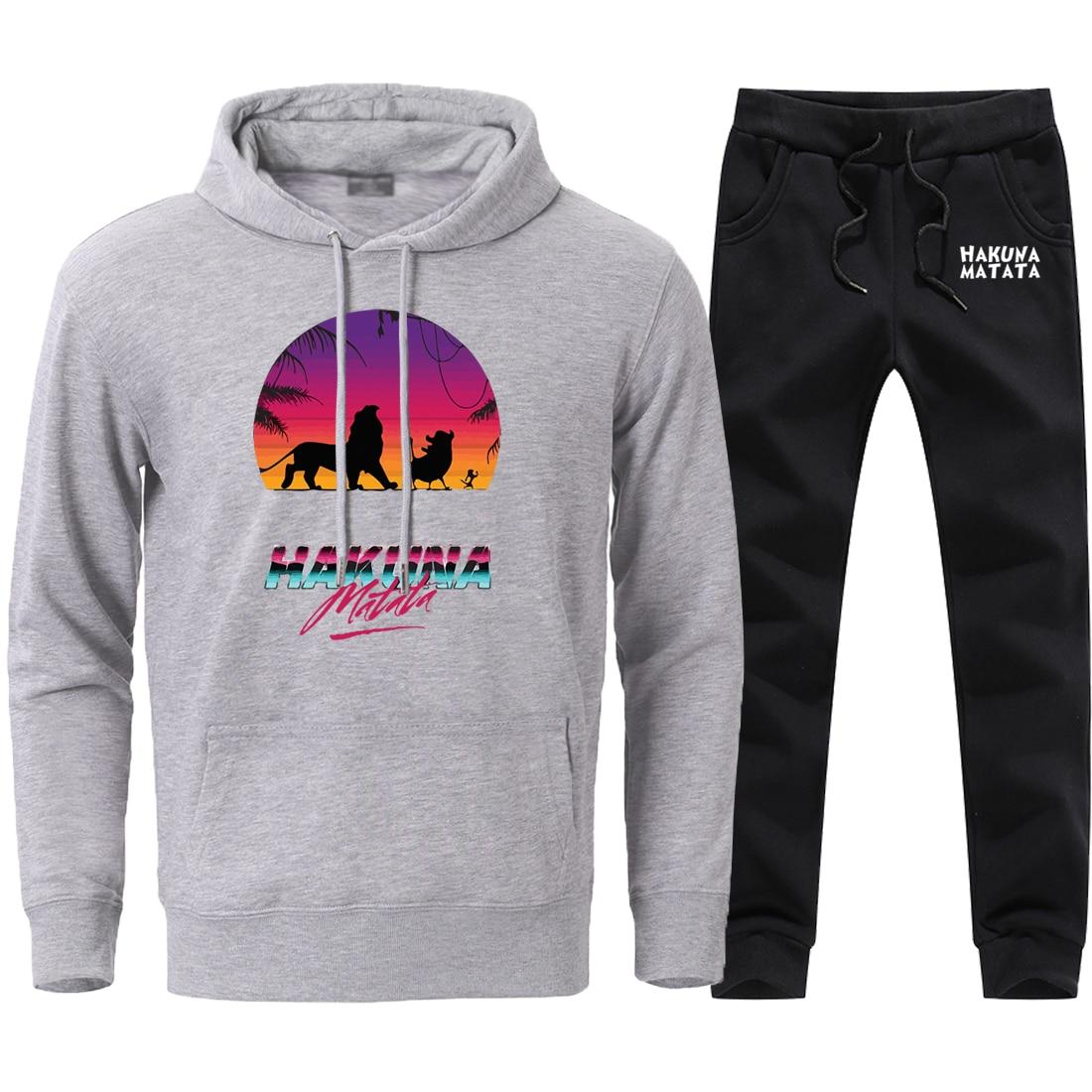 Fashion Hakuna Matata Pullover Sweatshirts Mens Loose Pants Sets 2 Pieces 2020 Male Brand High Quality Hooded Sweatpants Suits