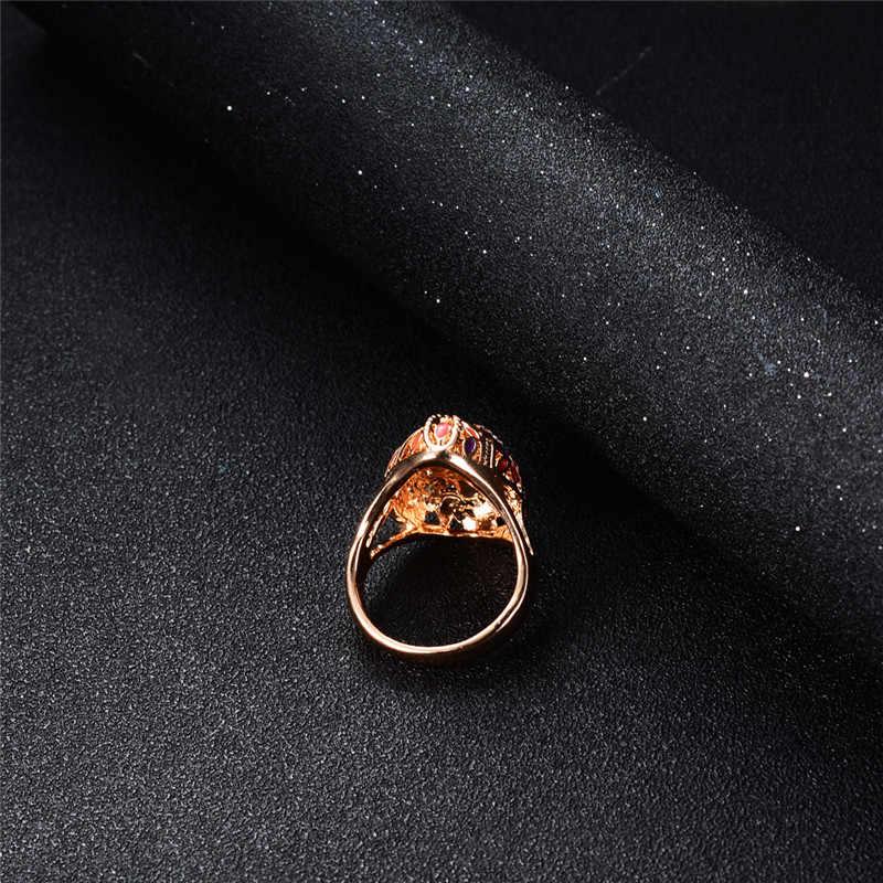 แฟชั่นสีส้มโอปอลเรซิ่นแหวนขนาดใหญ่สำหรับสตรี VINTAGE เครื่องประดับแหวนหญิง Rose Gold น้ำมันเคลือบแหวนผู้หญิงแหวนหญิง