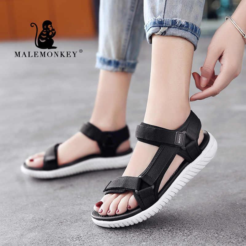 MALEMONKEY 1376 bayanlar rahat ayakkabılar kadın sandalet 2020 yaz açık rahat alt apatos Mujer kadın sandalet ayakkabı siyah