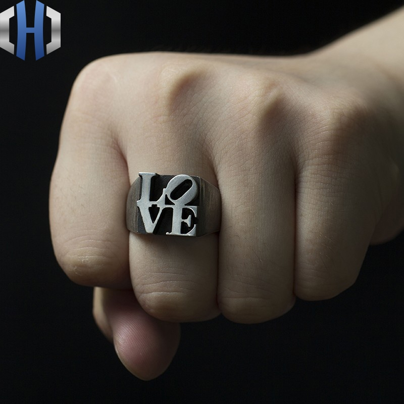 Original Design Handmade Silver Decoration Love925 Ring Male Personality Letter Female