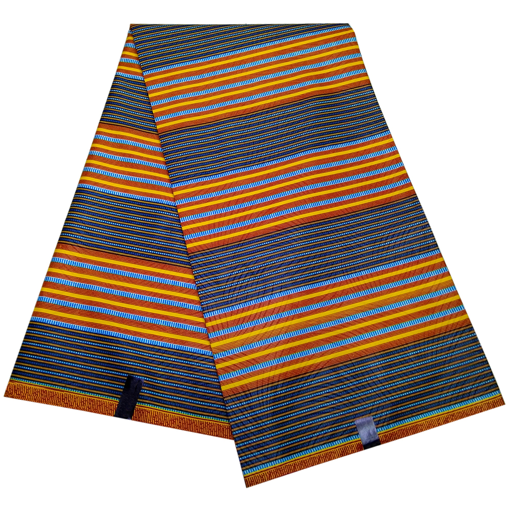 2019 African Stripe Print Wax Polyester Fabric African Dutch Wax 6 Yards For Party Dress